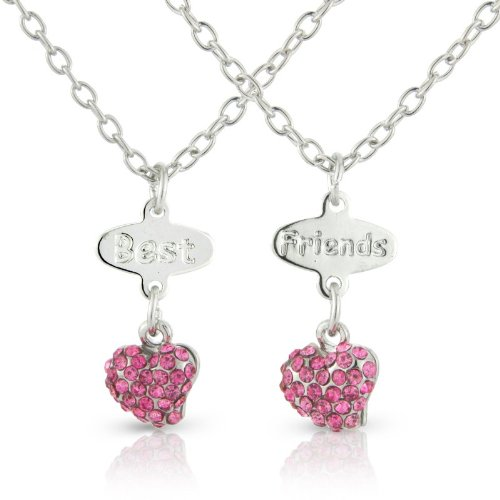 Bestfriends necklace, 2 Hearts in Gorgeous Pink Diamante Stones, arrives in 2 lovely keepsake bags for you your Best friend