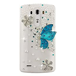 LG Leon Case, Sense-TE Luxurious Crystal 3D Handmade Sparkle Diamond Rhinestone Cover with Retro Bowknot Anti Dust Plug - Snow Butterfly / Blue