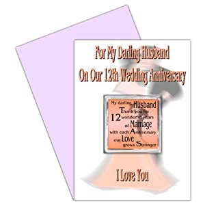 Husband 12th Wedding Anniversary Card With Removable Magnet Gift - 12 ...