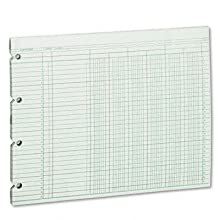 Wilson Jones Green Columnar Ruled Ledger Paper, 6 Columns and 30 Lines per Page, 9.25 x 11.88 Inches, 100 Sheets per Pack, (WG10-6A)