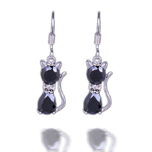 Aokeshen 2pcs Charm Drop Round Black Crystal Cublis Zirconia Sexy Cat Dangle 925 Sterling Silver Earrings Eardrop Earbob Fashion Women Jewellery Gift Wedding
