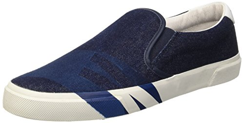 Bikkembergs Rubb-Er 689 Slip On M Denim/Leather, Scarpe Low-Top Uomo, Blu (Blue/White), 44 EU