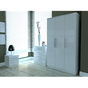 Toronto Caspian Black or White High Gloss Bedroom Furniture ...