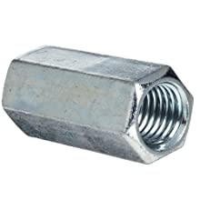 "12L14 Steel Coupling Nut, Zinc Plated Finish, Right Hand Threads, Corrosion Resistant, 3/4""-10 Threads, 1"" Width Across Flats (Pack of 20)"