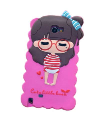JBG Hot Pink/Stripe Coat Samsung Note II N7100 Beautiful Little Bush Girl Silicone Soft Rubber Case Cover for Samsung Galaxy Note 2 II N7100
