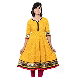 Saamarth Impex Women Printed Yellow Color Cotton 3/4 Sleeve Anarkali Style Kurties SI-2064