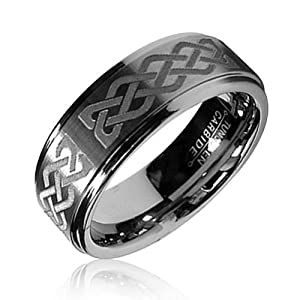 Bling Jewelry Celtic Knot Mens Tungsten Carbide Ring 8mm - Size 11.5