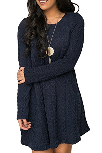 Mulisky Women Ladies Long Sleeve Slim Knitted Sweater Mini Party Dress Casual M