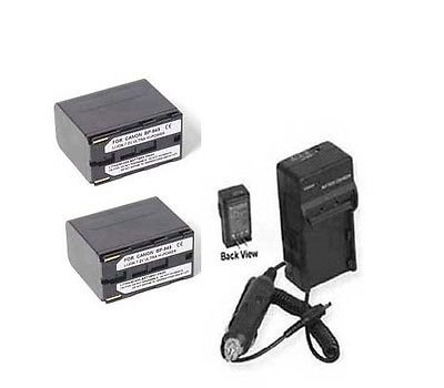 TWO Batteries + Charger for Canon ES50, Canon ES55, Canon ES60, Canon ES65, Canon ES75, Canon ES410V, Canon ES420V, Canon ES4000