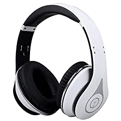 August EP640 - Bluetooth Wireless Stereo NFC Headphones - Over Ear Cordless Headphones with 3.5mm Wired Audio In, Rechargeable Battery, NFC Tap To Connect and built-in Microphone - Compatible with Cell Phones, iPhone, iPad, Laptops, Tablets, Smartphones (White)
