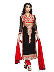 Black & Red Georgette Salwar Kameez