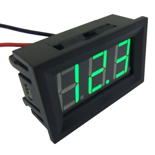 Vvw 2 Wire Green Led Panel Led Display Voltage Meter Voltmeter+With Reverse Polarity Protection+Waterproof