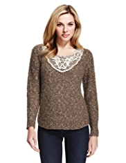 M&S Collection Floral Lace Tweed Jumper with Mohair