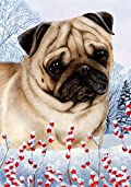 Pug Fawn by Tamara Burnett Winter Berries Garden Dog Breed Flag 12'' x 18