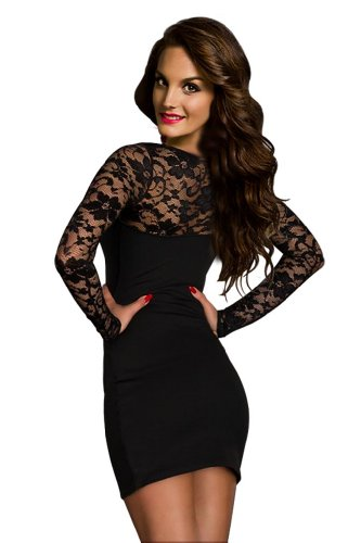 Voglee Elegant Womens Above Knees Little Black Dress Collection (Regular, Cut)
