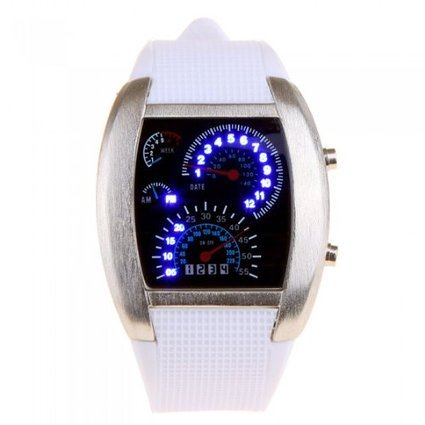 Niceshop® Cool Car Meter Dial Unisex Blue Flash Dot Matrix Led Racing Watch Write(White)