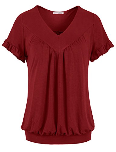 Messic-Womens-V-Neck-Short-Sleeve-Draped-Patchwork-Knitted-Tunic-Blouse-Top