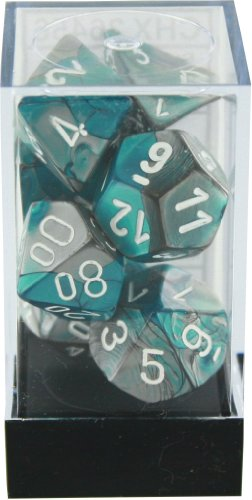 Polyhedral 7-Die Gemini Chessex Dice Set - Steel-Teal with White CHX-26456