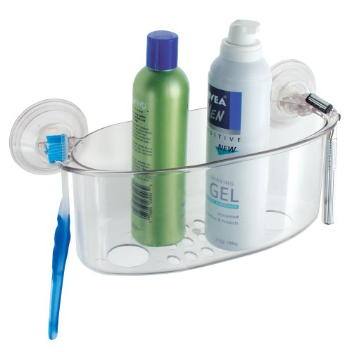 InterDesign Power Lock Suction Bathroom Shower Caddy Basket