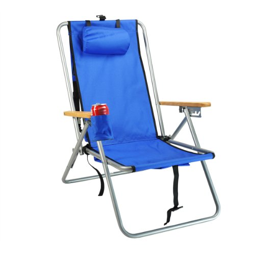 High Back Steel Backpack Beach Chair by WearEver - Solid Blue [Misc.]