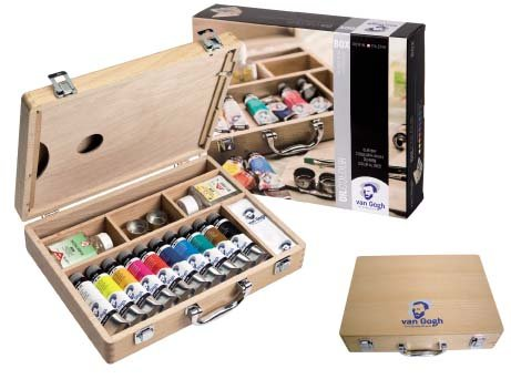 Caja de pintor con pinturas al óleo