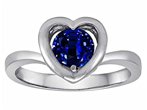 Star K Heart Engagement Promise of Love Ring 7mm Round Created Sapphire Size 7 from Star K