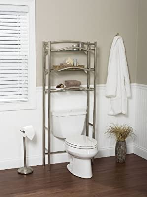 Zenna Home 9070BN, Bathroom Spacesaver, Extended Height, Brushed Nickel