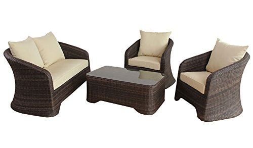 poly rattan lounge gartenset braun sofa garnitur. Black Bedroom Furniture Sets. Home Design Ideas
