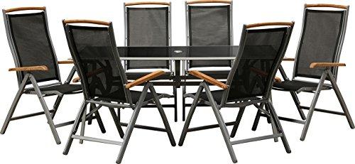 IB-Style-Gartengarnitur-BOLOGNA-6-Variationen-Alu-silbermatt-Textilen-schwarz-Teak-2-Tischgrssen-5-tlg-150x90-cm-Klappsthle-Gartenmbel-Tisch