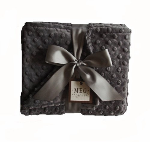 MEG Original Charcoal Grey Minky Dot Baby Blanket 397
