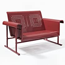 Hot Sale Red Retro Veranda Loveseat Glider - Classic Comfort