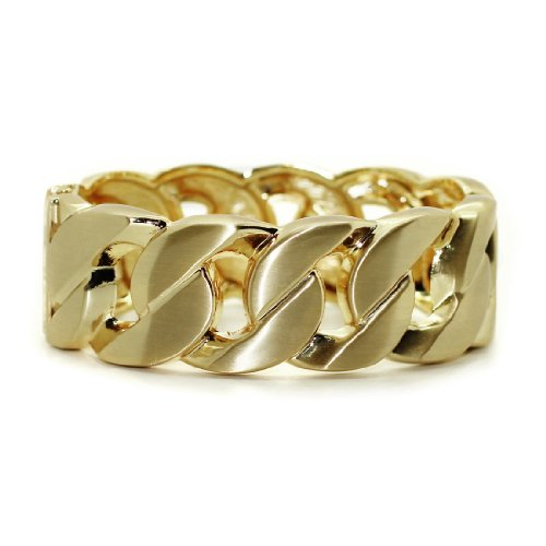 Womens Stylish Metal Hinged Wave Loop Chain Polished Bracelet / Bangle / Cuff