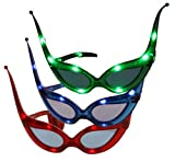 CARNIVAL-RAVE-EYES(TM) Costume Mask-Party Favor LED 3 PAIRS Flashing Glasses-RED BLUE GREEN -Blinking