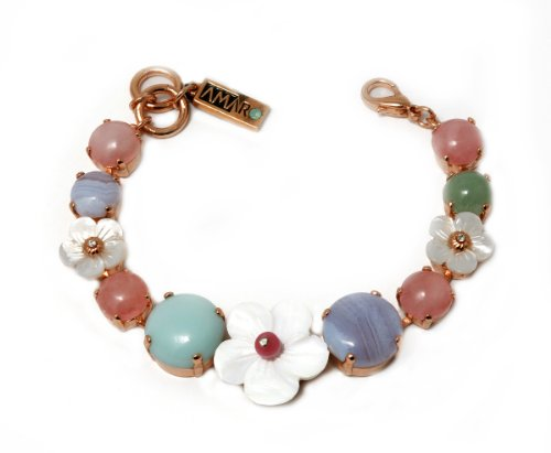 'Flow' Collection by Amaro Jewelry Studio 24K Rose Gold Plated Bracelet Crafted with Flower Links, Amazonite, Blue Lace Agate, Mother of Pearl, Opal, Pearl, Rose Quartz, Variscite and Swarovski Crystals