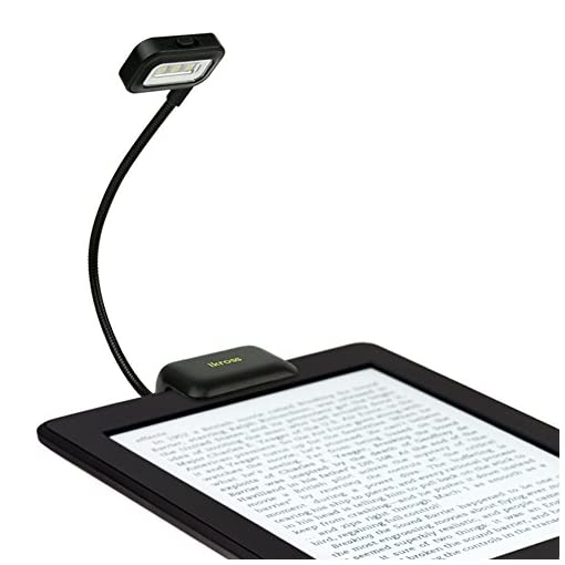 iKross-Black-Dual-LED-Clip-On-Reading-Light-for-Nook-eBook-Readers-Tablet-Book-Textbook-and-more