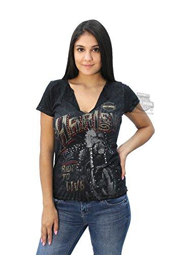 Harley-Davidson Womens Airbrushed Metal Motorcycle with Nailheads Black Short Sleeve T-Shirt - 3X