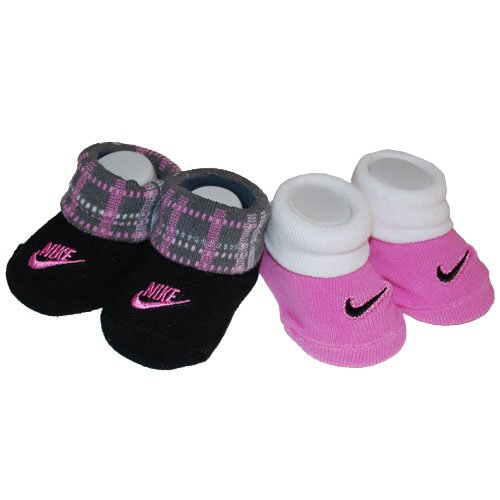 nike infant shoes. nike booties girl pink and black baby infant 3-6 months new pattern sock 2 pcs one set new (001777) shoes a