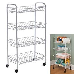 007371 carrello cucina mobiletto alimenti 4 ripiani acciaio ruote bianco metallo - Mobiletto cucina amazon ...