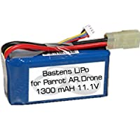 Bastens LiPo battery upgrade for the Parrot AR.Drone 1.0 - a high capacity alternative replacement battery - 15 to 20 minute flight time - will work with 2.0 aircraft but not the 2.0 charger by Bastens