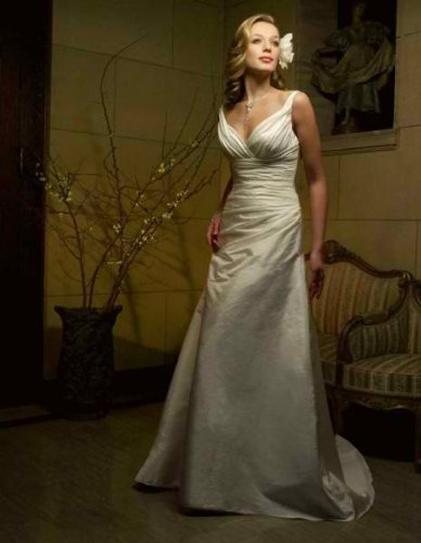 White Taffeta Wedding Gown with Straps; Size 16