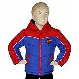 Superman Boy's Puffer Fleece Lined Hooded Blue/Red Winter Jacket