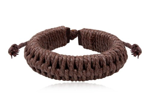 Fashion Brown Leather Wrap Cuff Rasta Weave Bracelet Bangle Men's Jewelry