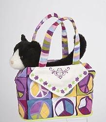 Douglas Toys Peace Sign Sak Bag with Black Plush Cat