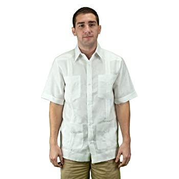 Mens linen white guayabera shirt.