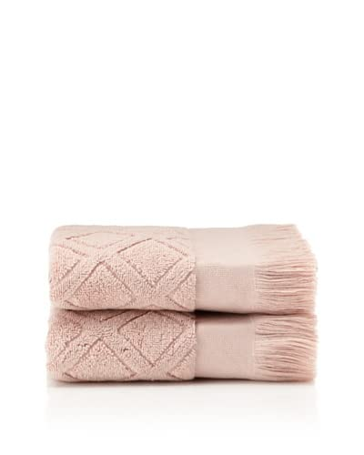 Nine Space Set Of 2 Trellis Luxurious Guest Towels, Dusty Rose, 35x18