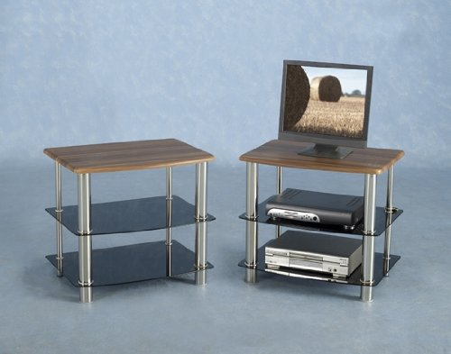 Hollyville Walnut Veneer And Black Glass Tv Unit [hollyvlletv]