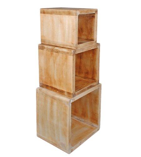 3er set lounge regal design cube nachttisch shabby hellbraun echtholz tische com forafrica. Black Bedroom Furniture Sets. Home Design Ideas