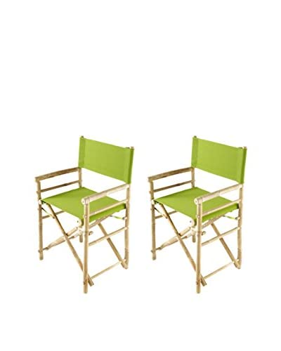 ZEW, Inc. Set of 2 Bamboo Director Chairs, Green