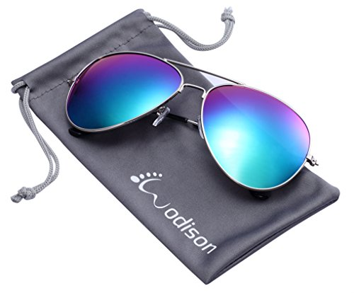 WODISON Vintage-Flieger-Sonnenbrille Reflektierende Spiegel-Objektiv (Grün Mix blau-Objektiv)