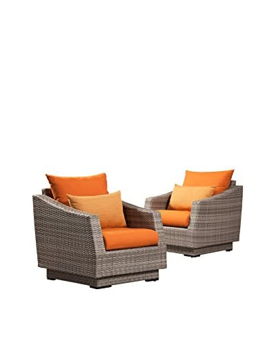 RST Brands Cannes Set of 2 Club Chairs, Orange
